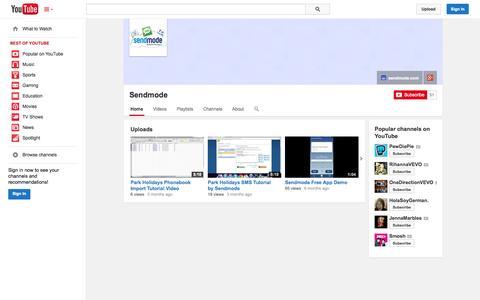 Screenshot of YouTube Page youtube.com - Sendmode  - YouTube - captured Oct. 31, 2014