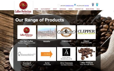 Screenshot of Products Page coffeeperfection.ie - Products - captured Nov. 8, 2016