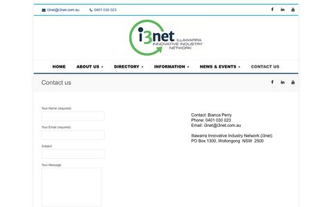Screenshot of Contact Page i3net.com.au - Contact us - i3net - captured Oct. 13, 2018