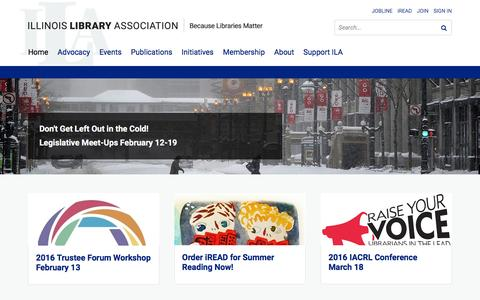 Screenshot of Home Page ila.org - Illinois Library Association - captured Feb. 10, 2016