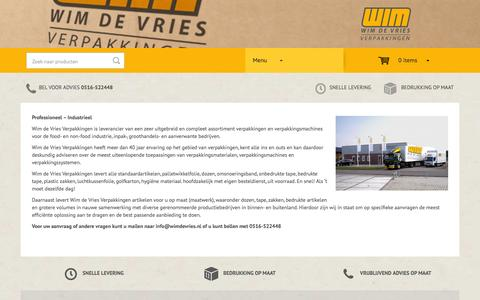Screenshot of Menu Page wimdevries.nl - Over ons - Wim de Vries Verpakkingen - captured Oct. 26, 2014