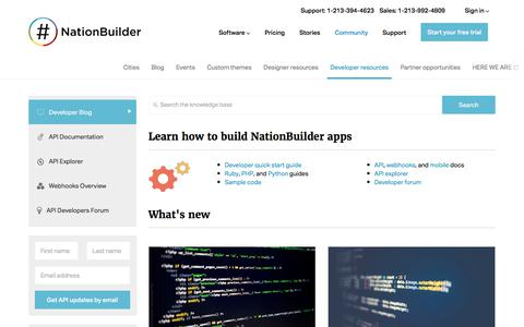 Screenshot of Developers Page nationbuilder.com - NationBuilder Developers - captured Dec. 27, 2017