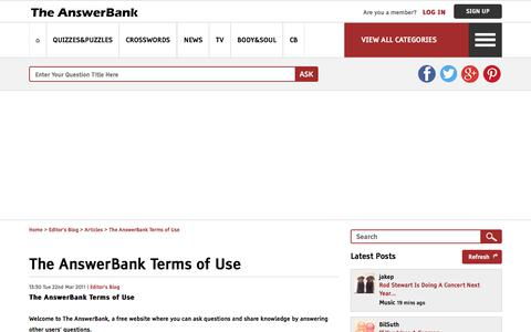 Screenshot of Terms Page theanswerbank.co.uk - The AnswerBank Terms of Use in The AnswerBank: Editor's Blog - captured Sept. 22, 2018