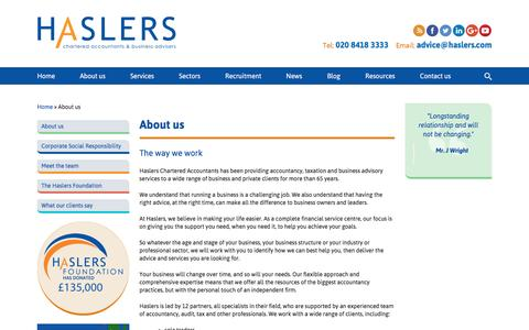 Screenshot of About Page haslers.com - About us | Haslers Accountants North East London, Essex - captured May 15, 2017