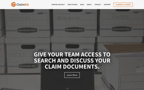 Screenshot of Home Page claimkit.com - ClaimKit | Our mission is simple: make claim professionals happier and more productive through better technology. - captured Sept. 19, 2015