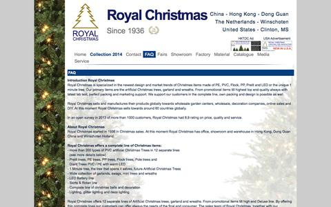 Screenshot of FAQ Page royalchristmas.com - Royal Christmas - FAQ - about Royal Christmas, service towards clients and packing! - captured Oct. 6, 2014