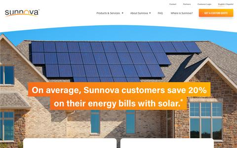 Screenshot of Home Page sunnova.com - Solar Panels + Battery Storage, 25-Year Warranty | Sunnova - captured April 14, 2019