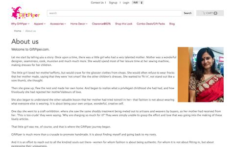 Screenshot of About Page giftpiper.com - Phulkari Dupatta, Kantha Stoles, Phulkari Suits Online-GiftPiper.com-About Us - captured July 19, 2018