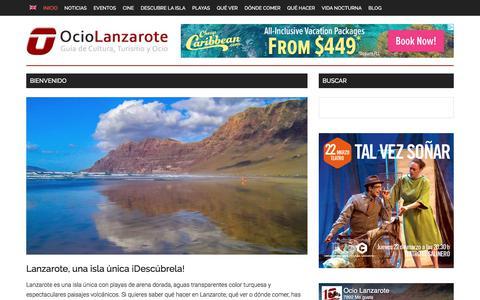 Screenshot of Home Page ociolanzarote.com - Todo sobre Lanzarote! Completa Guía local de Turismo y Ocio para disfrutar de la isla Lanzarote | OcioLanzarote.com - captured March 19, 2018