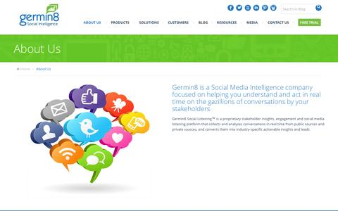 Screenshot of About Page germin8.com - About Germin8 - Social Media Analytics & Monitoring - captured Dec. 3, 2015