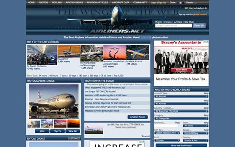 Screenshot of Home Page airliners.net - Airliners.net | Airplanes - Aviation - Aircraft - Aircraft Photos & News - captured Jan. 13, 2016