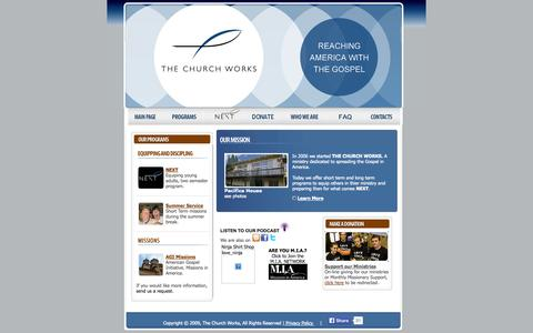 Screenshot of Home Page thechurchworks.org - The Church Works | Reaching America with the Gospel - captured Sept. 30, 2014