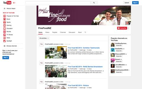 Screenshot of YouTube Page youtube.com - FineFoodNZ  - YouTube - captured Oct. 23, 2014