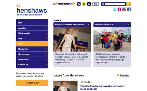 Screenshot of Press Page henshaws.org.uk - News | Henshaws Society for Blind People | A charity for the visually impaired - captured Oct. 2, 2014