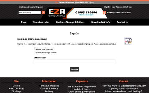 Screenshot of Login Page ezrshelving.com - EZR Shelving - captured Sept. 18, 2019