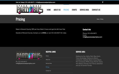 Screenshot of Pricing Page spacecoastpartybus.com - Pricing - Space Coast Party Bus - captured Oct. 7, 2014