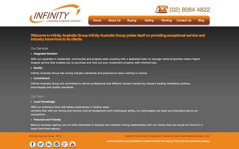 Screenshot of About Page infinityaus.com - About - Infinity Complete Property Solution - captured Feb. 10, 2016