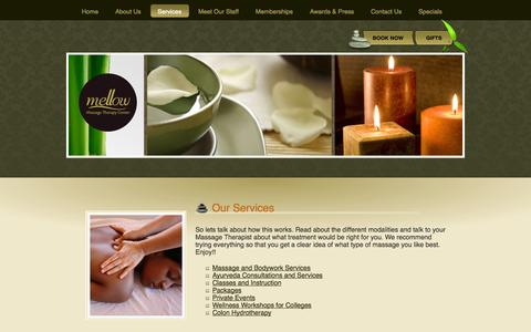 Screenshot of Services Page mellowmassage.com - Our Services | Services | Mellow - captured Oct. 27, 2014