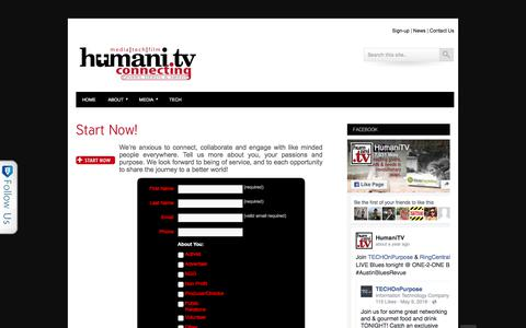 Screenshot of Signup Page humani.tv - Start Now! » HumaniTV - captured Sept. 20, 2017