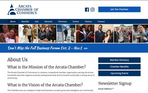 Screenshot of About Page arcatachamber.com - About Us | Arcata Chamber of Commerce - captured Oct. 4, 2018