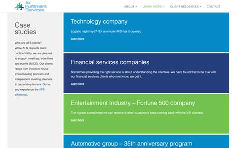 Screenshot of Case Studies Page airfulfillment.com - Case studies Archives - Air Fulfillment Services - captured Nov. 12, 2018