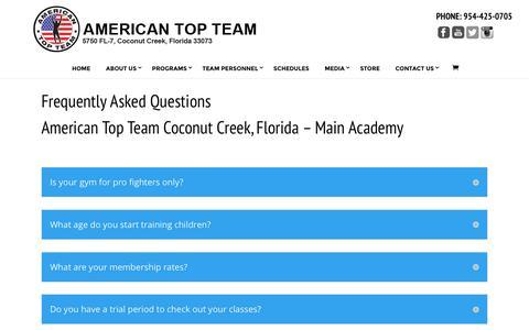 Screenshot of FAQ Page americantopteam.com - American Top Team and Mixed Martial Arts FAQ - captured June 10, 2016