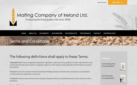 Screenshot of Terms Page maltingcompany.ie - Terms and Conditions – Malting Company Ireland - captured Nov. 12, 2018