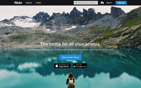 Screenshot of Home Page flickr.com - Flickr, a Yahoo company | Flickr - Photo Sharing! - captured Feb. 14, 2016