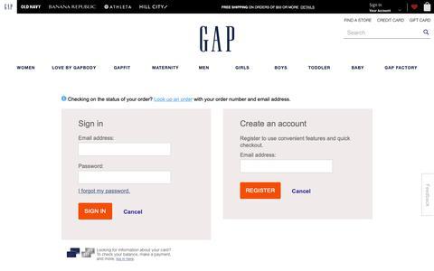 Screenshot of Login Page gap.com - Sign In | Gap - captured Feb. 15, 2019