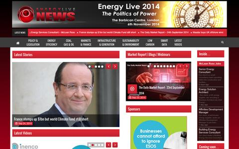 Screenshot of Home Page energylivenews.com - Energy Live News – Energy Made Easy - captured Sept. 24, 2014