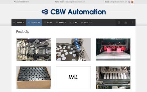 Screenshot of Products Page cbwautomation.com - CBW Automation - The Future of Automation - captured May 11, 2017
