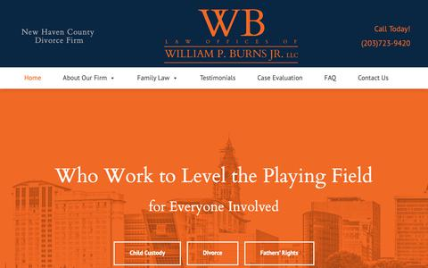 Screenshot of Home Page attorneywilliamburns.com - New Haven County Divorce Lawyer | Law Offices of William P. Burns Jr. LLC - captured Oct. 5, 2018