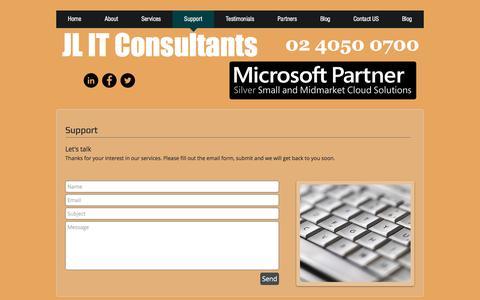 Screenshot of Support Page jlit.com.au - jlit-consultants | Support - captured Nov. 18, 2016