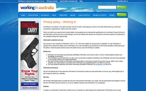 Screenshot of Privacy Page workingin-australia.com - Privacy policy - Working In | Working In Australia - captured Sept. 25, 2015