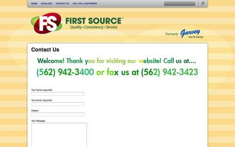 Screenshot of Contact Page garveycandy.com - Garvey Nut & Candy   Contact Us - captured Oct. 2, 2014