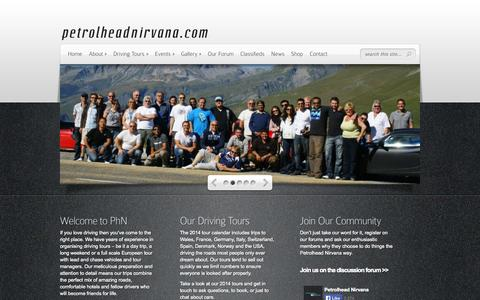 Screenshot of Home Page petrolheadnirvana.com - Petrolhead Nirvana - Driving Tours & Events Powered By Passion - captured Oct. 2, 2014