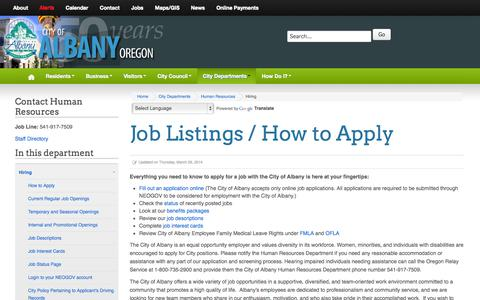 Screenshot of Jobs Page cityofalbany.net - Hiring - captured Oct. 2, 2014