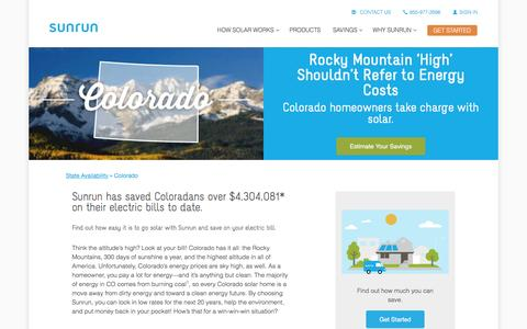Screenshot of sunrun.com - Colorado Solar Panels & Home Solar Companies   Sunrun - captured March 31, 2016