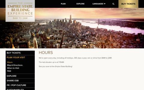 Screenshot of Hours Page esbnyc.com - Hours   Empire State Building - captured Sept. 24, 2014