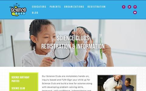 Screenshot of Signup Page mrbondscienceguy.com - Science Club Registration | Nashville TN | Mr. Bond's Science Guys - captured Sept. 20, 2018