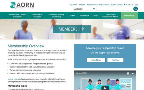 Screenshot of Signup Page aorn.org - AORN Membership - Join AORN - Association of periOperative Registered Nurses - captured July 28, 2018
