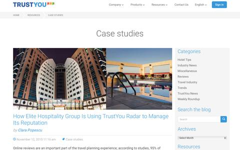 Screenshot of Case Studies Page trustyou.com - Case studies Archives á TrustYou - captured Jan. 19, 2016