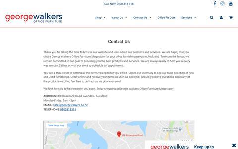 Screenshot of Contact Page georgewalkers.co.nz - Contact Us – George Walkers Office Furniture Megastore - captured Nov. 10, 2018