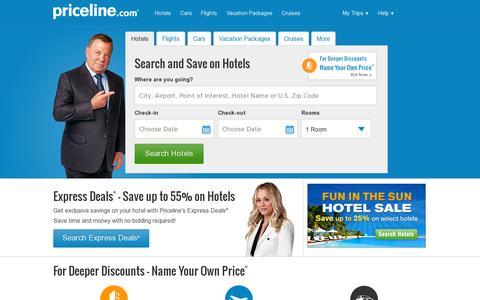 Screenshot of Home Page priceline.com - Priceline.com - The Best Deals on Hotels, Flights and Rental Cars. - captured July 11, 2014
