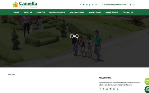 Screenshot of FAQ Page camella.com.ph - FAQ | Camella - captured July 10, 2016