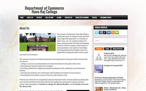 Screenshot of About Page commercehansraj.in - About Us ~ <center>Department of Commerce<br>Hans Raj College</center> - captured Oct. 2, 2014