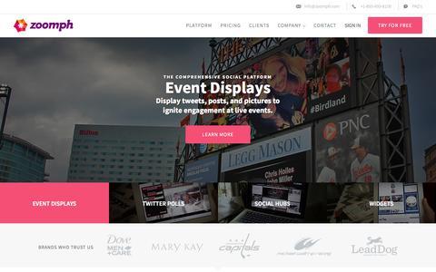 Screenshot of Home Page zoomph.com - Zoomph | Influencer Engagement Platform | Social Media Marketing - captured Sept. 17, 2014