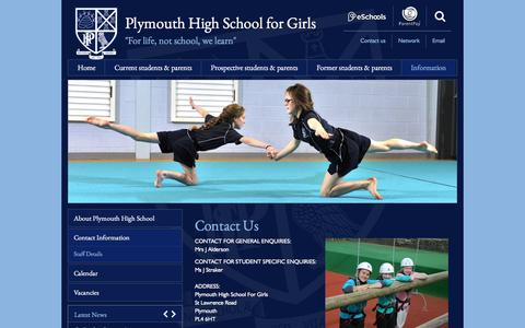 Screenshot of Contact Page phsg.org - Plymouth High School - Useful information - Contact Information - captured May 24, 2016