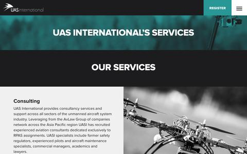 Screenshot of Services Page uasinternational.com - UAS International |  UAS International�s Services - captured Dec. 15, 2015