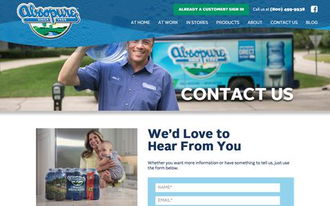 Screenshot of Contact Page absopure.com - Contact Us - Absopure - captured March 29, 2018